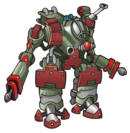 robot cartoon: Mech-warrior, robot, vector illustration Illustration
