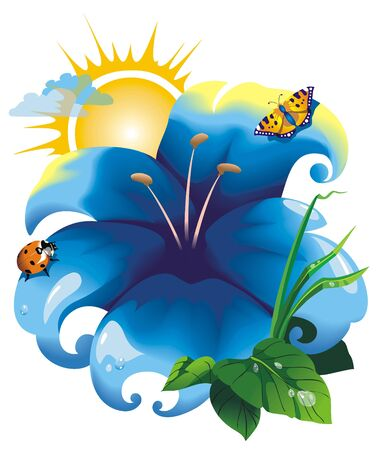 Fantastic flower with ladybug and butterfly under the sun, vector illustration