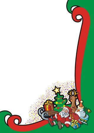 Christmas background for a holiday card, with group of Christmas toys, vector illustration Vector