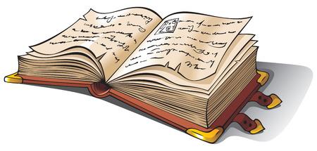bücherwurm: Alten ge�ffneten Buch Cursive, alte Folio oder Manuskript, Vektor-Illustration