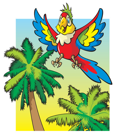 Bright colored parrot flying among the palm trees, cartoon vector illustration Illustration