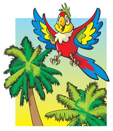 palmtrees: Brillante de color loro que volaba entre las palmeras, caricatura ilustraci�n vectorial Vectores