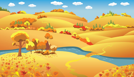 Autumn Landscape, trees and hills and the river on the plain, vector illustration