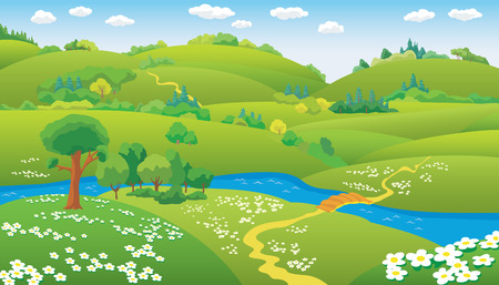pathway: Summer Landscape, hills and the river on the plain, vector illustration