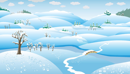 Winter Landscape, hills, trees and the river on the plain, snow-covered, vector illustration