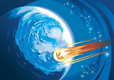 Cometa con cola ardiendo apresurándose a un planeta, ilustración vectorial