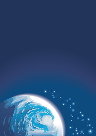 Background with planet and shining stars, copy-space, vector illustration Vector