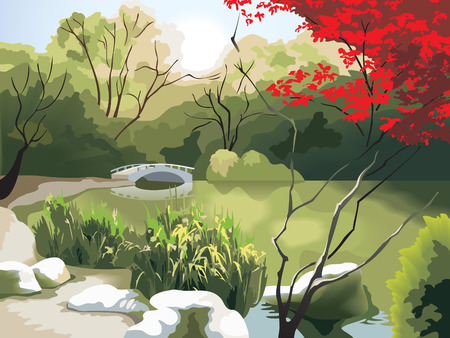 Nature park scenery in spring, small bridge on the pond, China, photo-realistic vector illustration