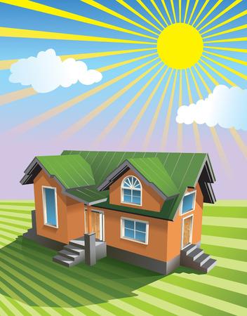remplir: Petite maison sous le soleil sur le champ de gramin�es, utilisez le fond en d�grad�, illustration du vecteur