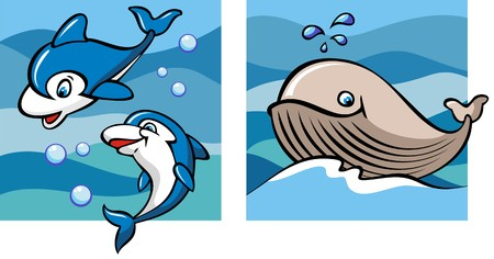 cartoon whale: Marine life, dolphins and whale against a backdrop of the sea waves, set of two cartoon pictures, vector illustration Illustration