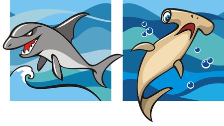 hammerhead: Marine life, gray shark and hammerhead shark against a backdrop of the sea waves, set of two cartoon pictures, vector illustration