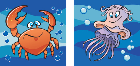 Marine life, crab and jellyfish against a backdrop of the sea waves, set of two cartoon pictures, vector illustration Vector