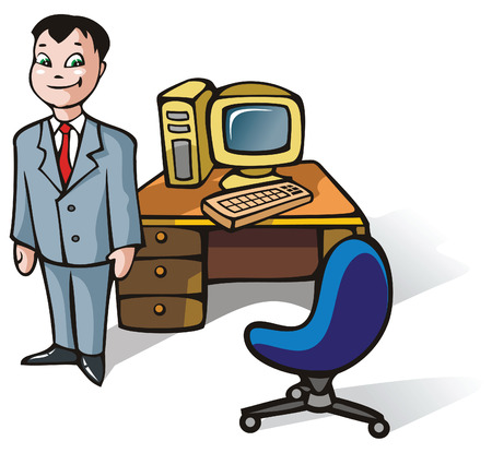 clerk: Office clerk, in front of working table with computer, vector illustration