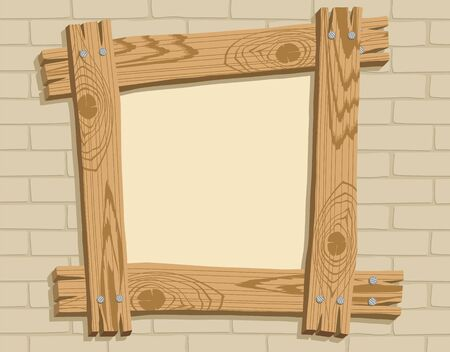 Frame of wooden boards against a backdrop of brickwall, vector illustration Vector