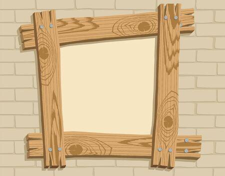 brickwall: Marco de tablas de madera sobre un fondo de brickwall, ilustraci�n vectorial
