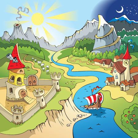 sol caricatura: Paisaje de cuento de hadas, tierra de maravilla con castillo y ciudad, ilustraci�n vectorial de dibujos animados