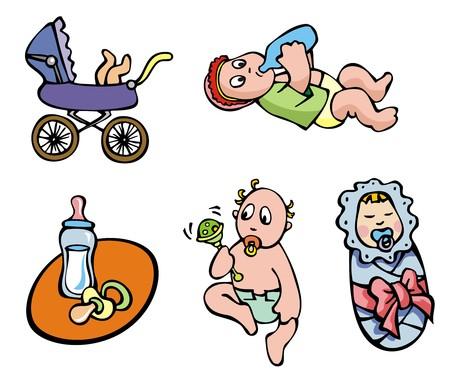 Set of cartoon drawing of children, babies, different activities, vector illustration Vector