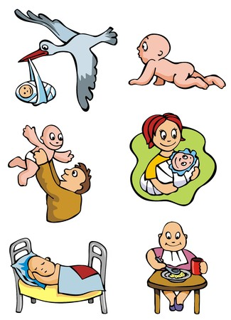 Set of cartoon drawing of children babies different activities vector illustration Stock Vector - 5545212