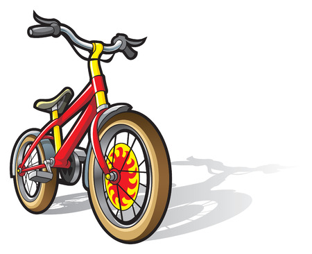 Children bicycle, bright colored, vector illustration
