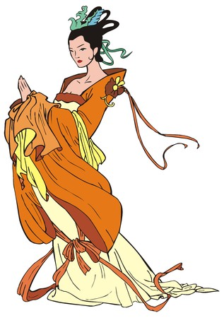 pastiche: Chinese young woman, pastiche of traditional Chinese painting, character from mythology, vector illustration