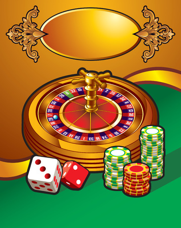 roulette wheel: Casino with roulette wheel, dice and tokens, golden frame for text, vector illustration