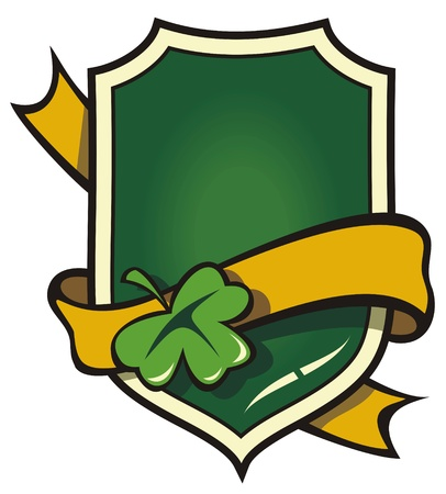 irish: Signboard with ribbon in Irish style, element for design, vector illustration
