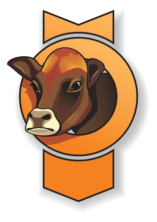 bellow: Cows head, with frame in shape of bow, vector illustration