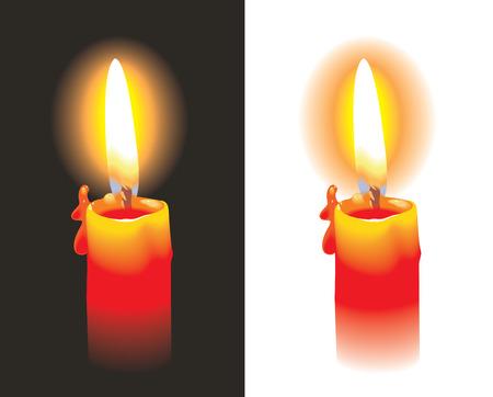 Burning candle, photo-realistic, vector illustration
