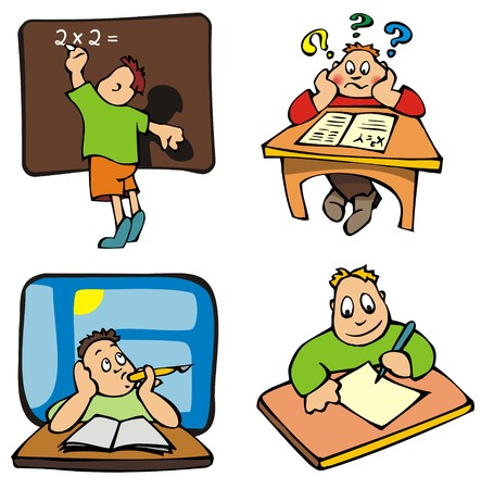 Set of education pictures, cartoons, vector illustration Stock Vector - 5572803