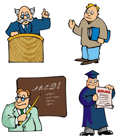 Set of education pictures, cartoons, teachers and lecturers, vector illustration Stock Vector - 5572812