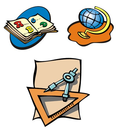 Set of educational objects, book, globe and compass, cartoon, vector illustration Stock Vector - 5572806