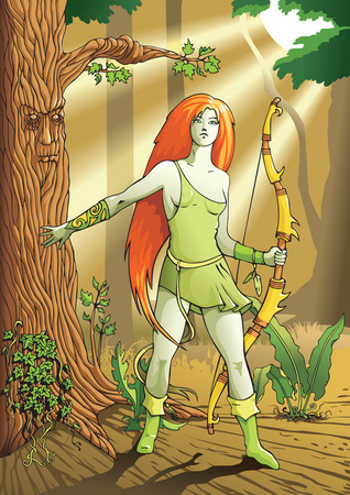 Elf female archer, a character from mythology and folklore legend, vector illustration Vector