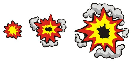 phases: Phases of explosion, spreading and growing, vector illustration, cartoon