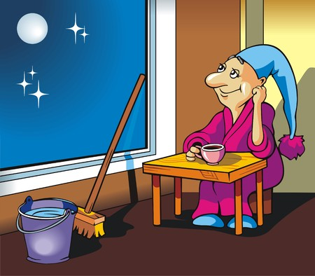 swab: Gnome sitting in front of the window, drinking tea or coffee, after cleaning the room, vector illustration