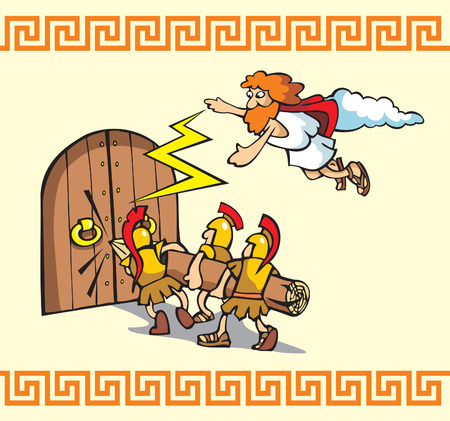 helps: Scene from Trojan war, Greek warriors breaking the gates, one of the Gods helps them, cartoon vector illustration