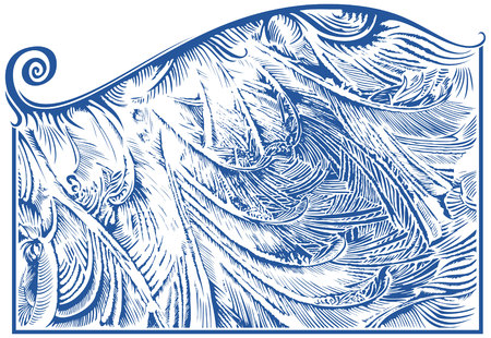 frost: Frost pattern on window glass, hand drawing, vector illustration Illustration