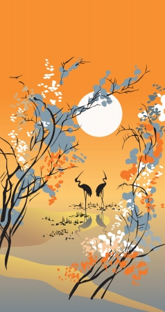 Four seasons: autumn, hand-drawing picture in Chinese traditional painting style, vector illustration Vector