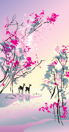 Four seasons: spring, hand-drawing picture in Chinese traditional painting style, vector illustration Illustration