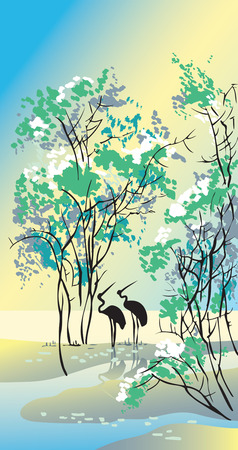 Four seasons: summer, hand-drawing picture in Chinese traditional painting style, vector illustration Vector