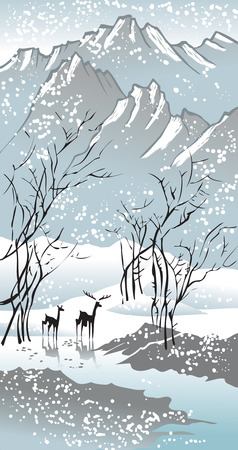 Four seasons: winter, hand-drawing picture in Chinese traditional painting style, vector illustration