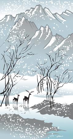 blizzard: Four Seasons: Winter- und Hand-Zeichnung Bild im traditionellen chinesischen Stil, Malerei vector Illustration