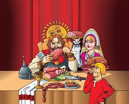 flatwares: The Duke eating the meal during the feast, servants set the table, Middle Ages, medieval Russia, vector illustration