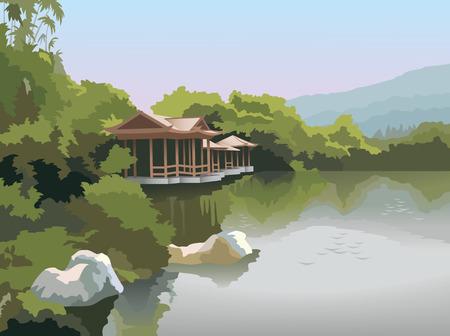 Paisaje del Parque de naturaleza en primavera, pagoda en la orilla del lago, ilustración vectorial de calidad fotográfica  Ilustración de vector