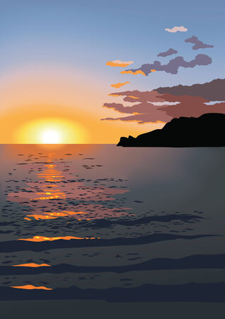 Sunset at sea, red clouds over the mountains, reflection in water, vector illustration