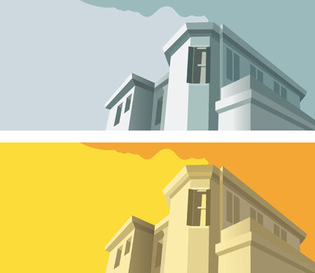 variant: Old-fashioned building in two color variant, vector illustration Illustration