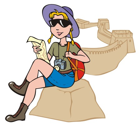 great wall of china: Female tourist exploring a map against a backdrop of Chinese Great Wall, vector illustration