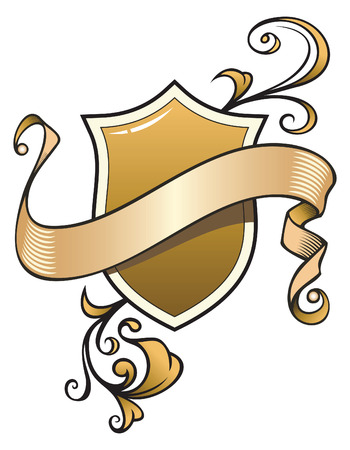 Heraldic composition with scroll and shield, vector illustration
