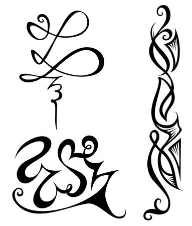 ligature: Set of ornaments or vignettes, elements for design, vector illustration