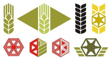 centeno: Conjunto de iconos sobre temas de agricultura, espiga de trigo, partes de la m�quina de cosecha, ilustraci�n vectorial  Vectores