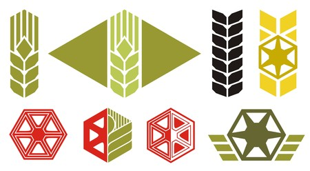 wheat illustration: Set of icons on agriculture topics, ear of wheat, parts of harvesting machine, vector illustration